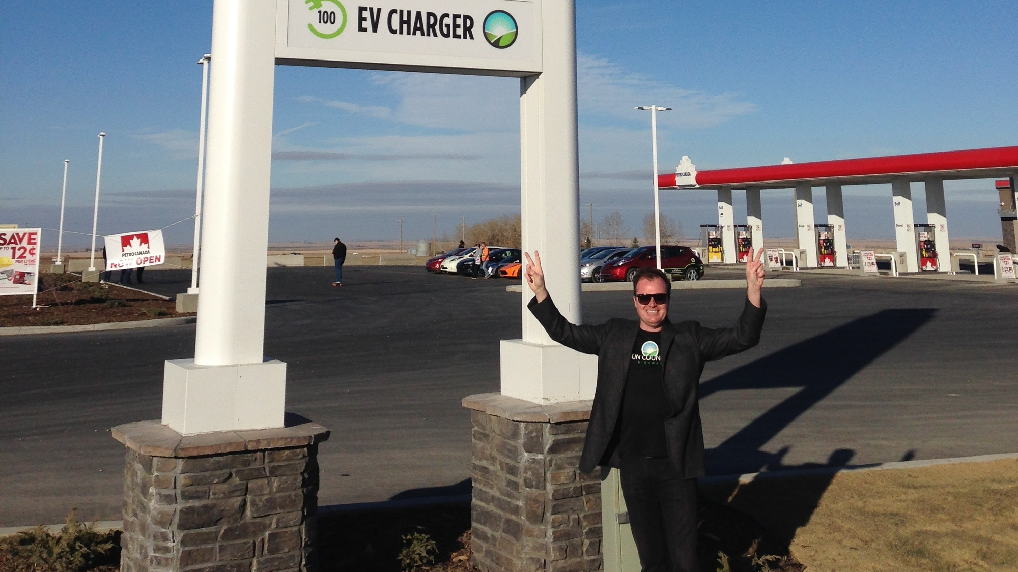 Petro-Canada gas station, Crossfields, Alberta, with electric-car charging station