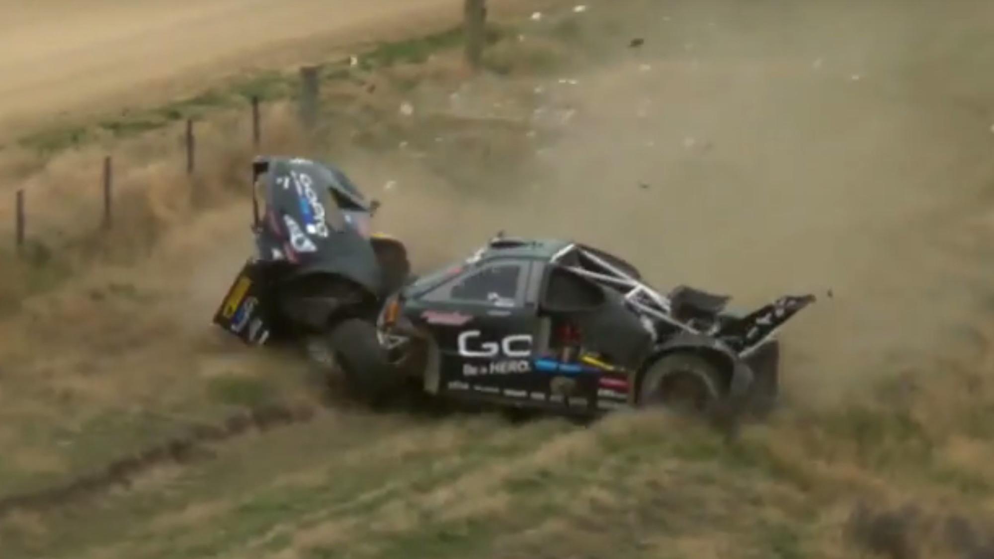 Monster Tajima's car comes apart at speed, causing wreck