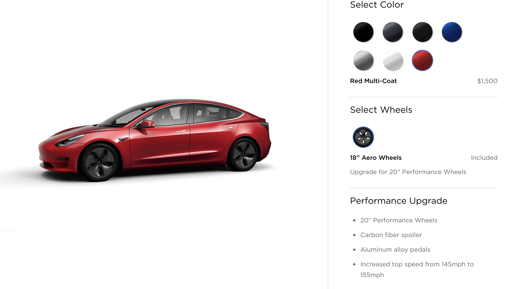 Tesla Model 3 order configurator 6/18 color and wheels [Image via Teslarati]