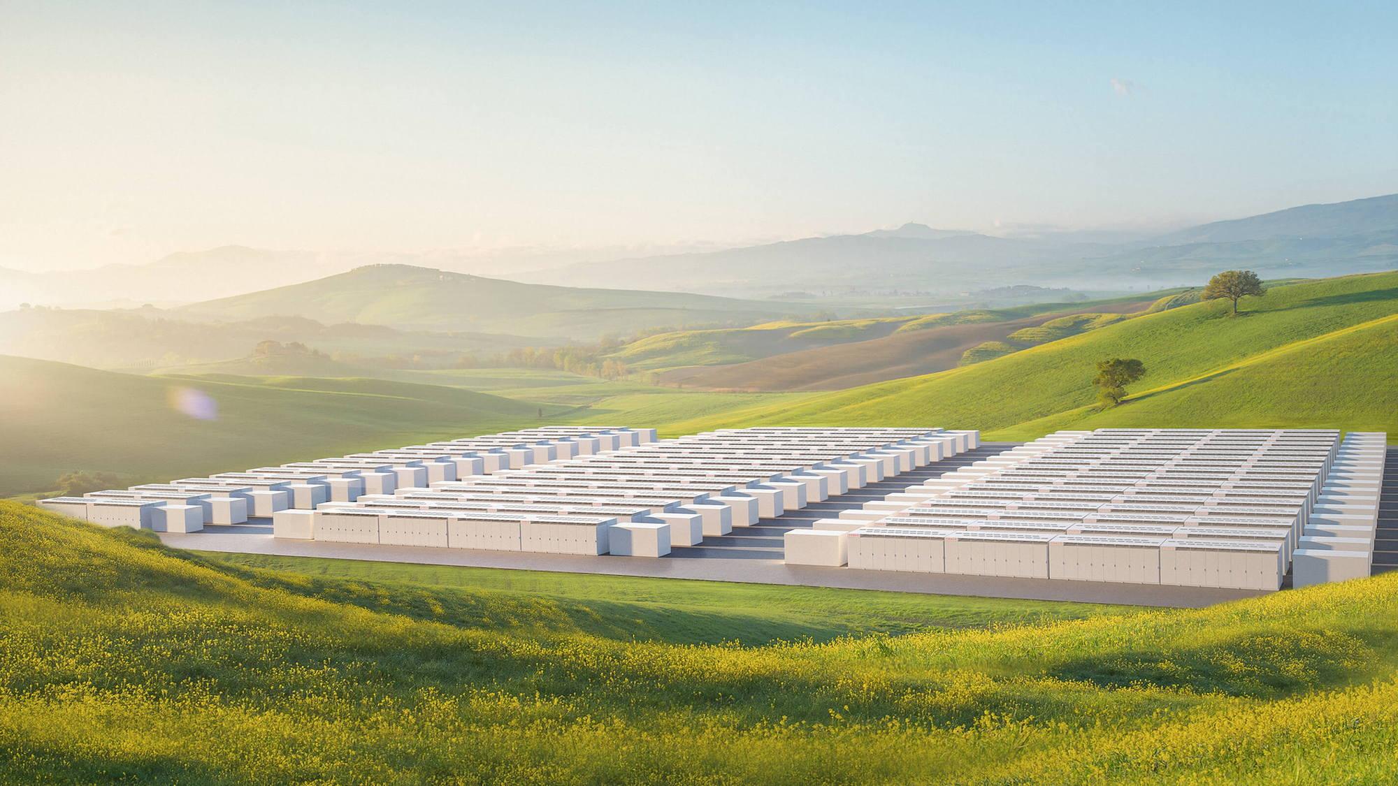 Artist's rendering of Tesla Megapack grid storage installation
