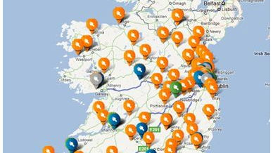 Electric vehicle charging stations in Ireland; source: Google
