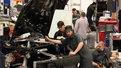 Tesla Model S workshop - technicians work on VIN # 7, slated for road tests