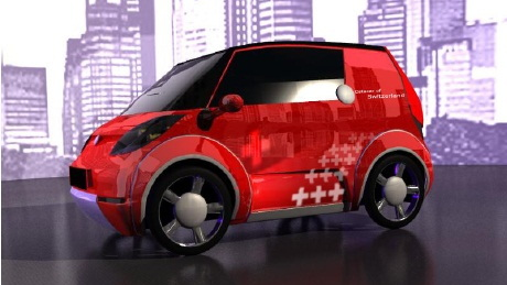 Catecar Swiss green high-tech urban vehicle rendering, Jan 2012