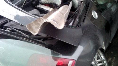 Audi R8 skewered on guardrail via WreckedExotics