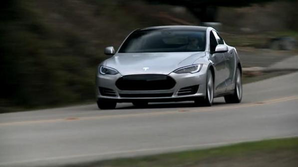Tesla Model S prototype on the road, January 2011, screen capture from video