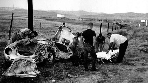 The wreck of James Dean's Porsche 550 Spyder, nicknamed Little Bastard