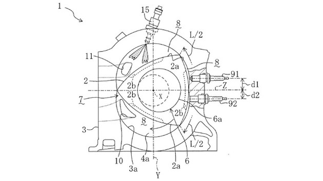Mazda Rotary engine with direct injection patent