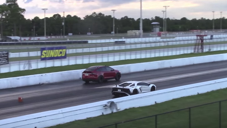 A Lamborghini Aventador SV lost to a Tesla Model X in the quarter mile