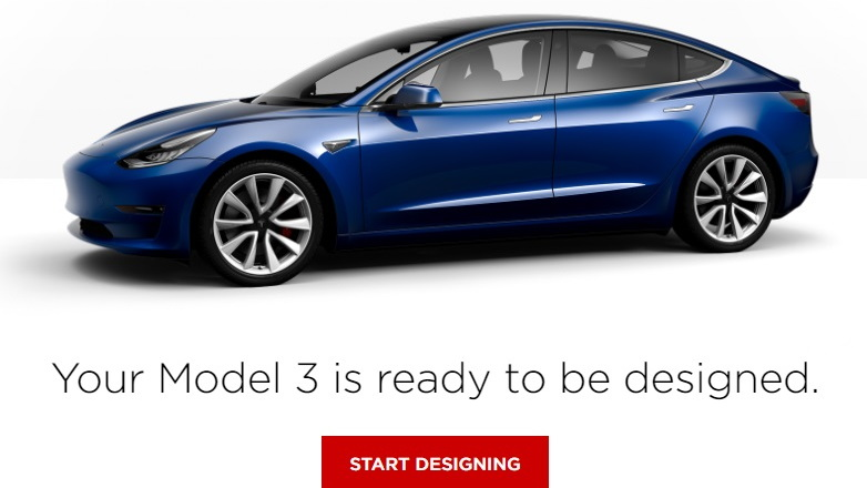 2017 Tesla Model 3 electric car online configurator