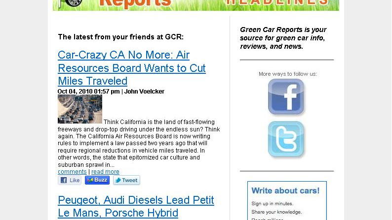 Green Car Reports headlines daily e-mail