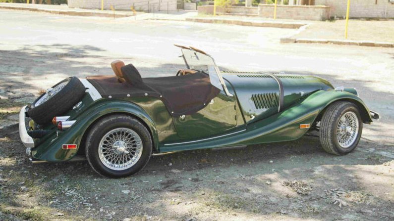 A 1982 Morgan Plus 8, propane-powered and turbocharged.