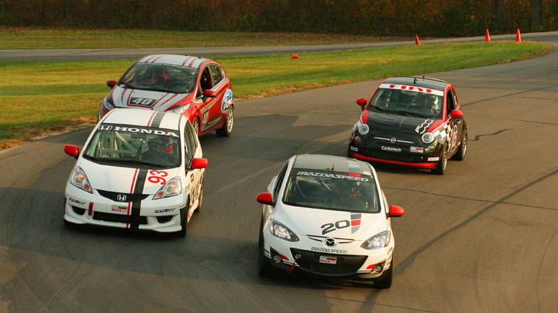 B-Spec racers in formation for first group test