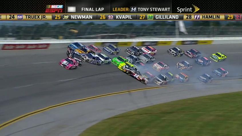 Tony Stewart, sideways at 180 mph
