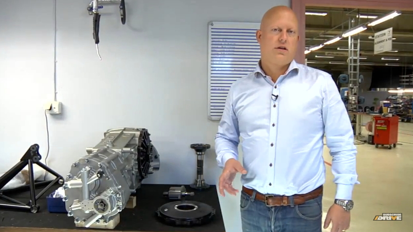 Christian Von Koenigsegg with the Agera R's transaxle