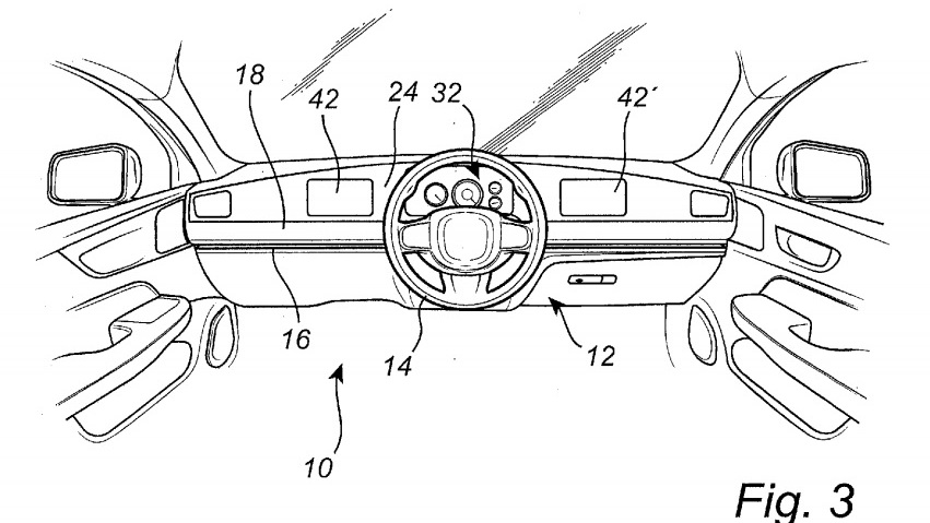 Volvo sliding steering wheel patent image