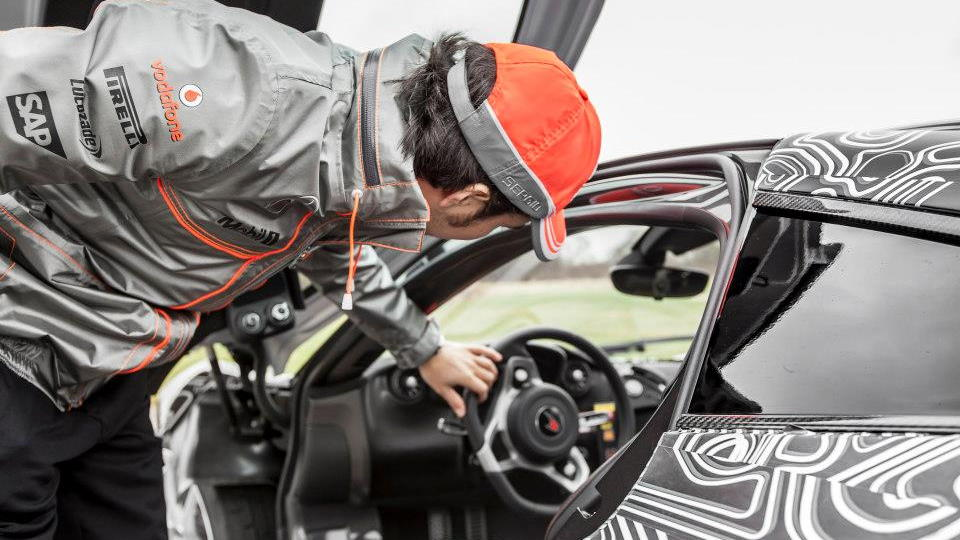 Sergio Perez drives the McLaren P1 at Dunsfold Aerodrome - image: McLaren