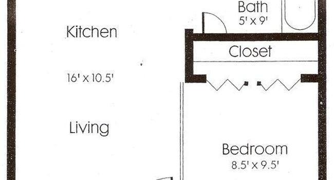 1 Bedroom / 1 Bath / 490 Sq.Ft.